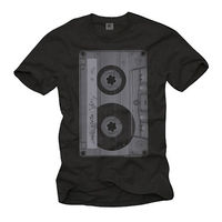RETRO OLD SCHOOL TAPE MEN SHIRT WITH CASSETTE SHORT SLEEVE PUNK ROCK MUSIK TEE