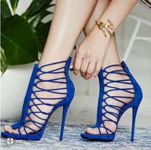 Hot Selling Blue Suede Cross Strappy Sandals Cut-out Peep Toe Gladiator Heels Ladies Dress Shoes Back Zipper Hollow Shoes hollow cut insert knot back dress