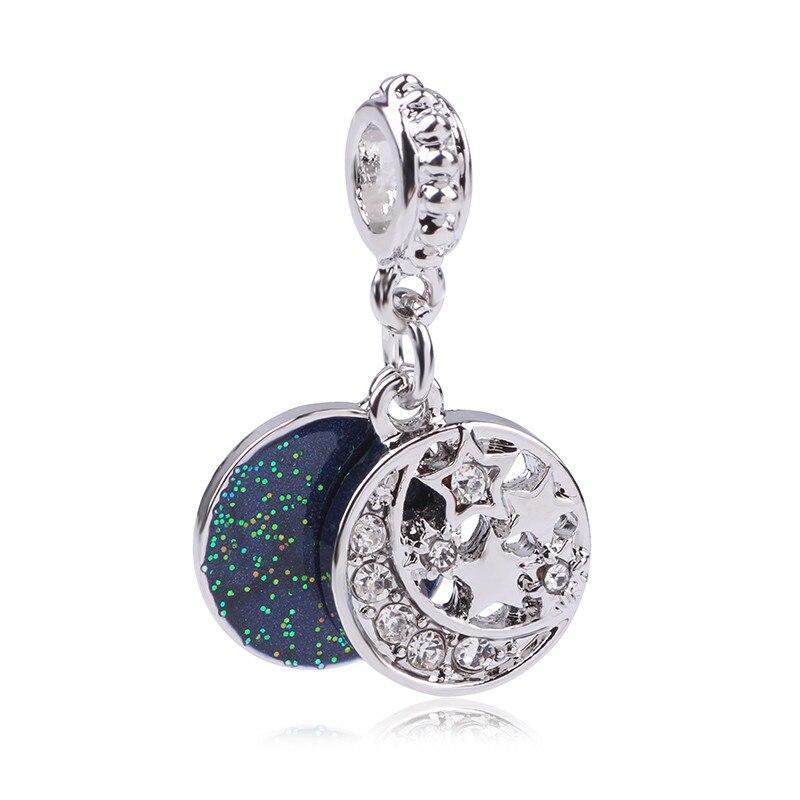 New 925 Sliver Star Moon Bead Charm Crystal With Pendant Beads Fit Pandora Bracelet Bangle DIY Jewelry