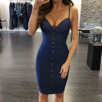 Puseky 2017 Hot Sale Women S Denim Deep V Solid Backless Button Party Evening Pencil Backless