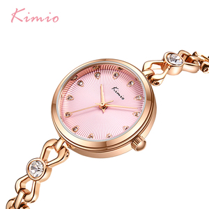 Image 1 - KIMIO Brand Small Dial Quartz Watches For Women Ladies Stainless Steel Hollow Thin Bracelet Watch Delicate Crystal Wristwatch