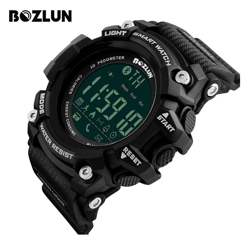 Bozlun ST01 Sports Pedometer Men Watch Smart Bracelet 30M Waterproof Wristwatch Call Reminder Digital Watch Relogio Masculino