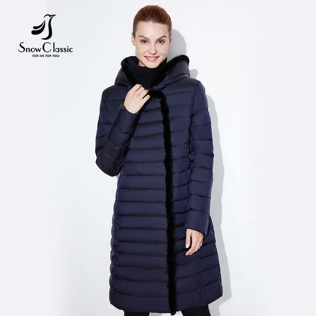 SnowClassic 2017 nuevas mujeres de la chaqueta de invierno cálido abrigo largo moda primavera outwear solid delgado gruesa chaqueta borde frontal de piel de zorro collar