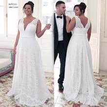 Модные свадебные платья трапециевидной формы с кружевным декольте