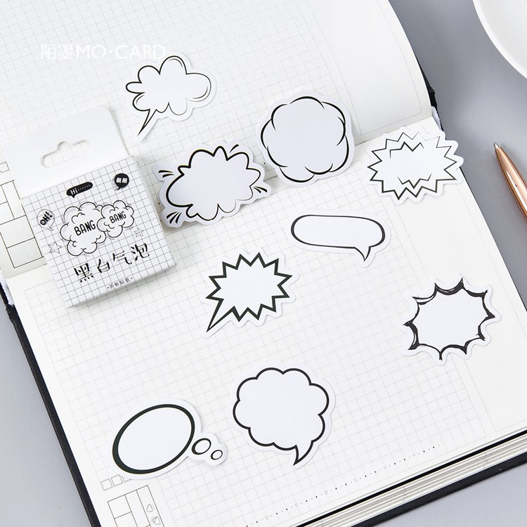 Creative Black White Dialog Box Album Paper Lable Stickers Crafts And Scrapbooking Decorative Lifelog Sticker Cute Stationery