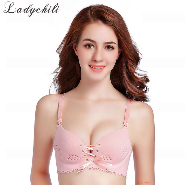 d02ae26ed9096 Ladychili Women Intimates Cute Pink Seamless Wireless One Piece Bra Top  Bandage Hollow Out Breathful Push Up Bralette DD37