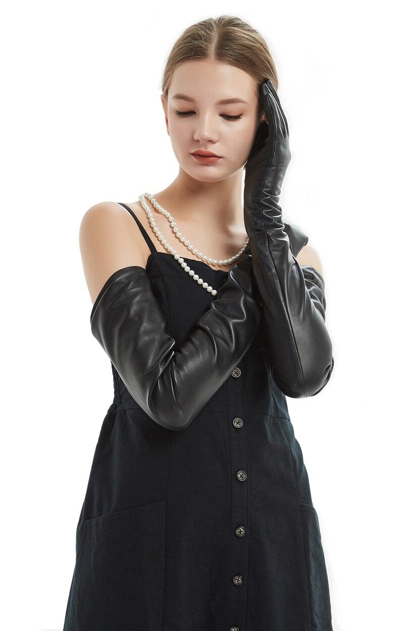 80 см (31,5 ) Длинные Простые супер длинные перчатки из натуральной овечьей кожи черные - 3