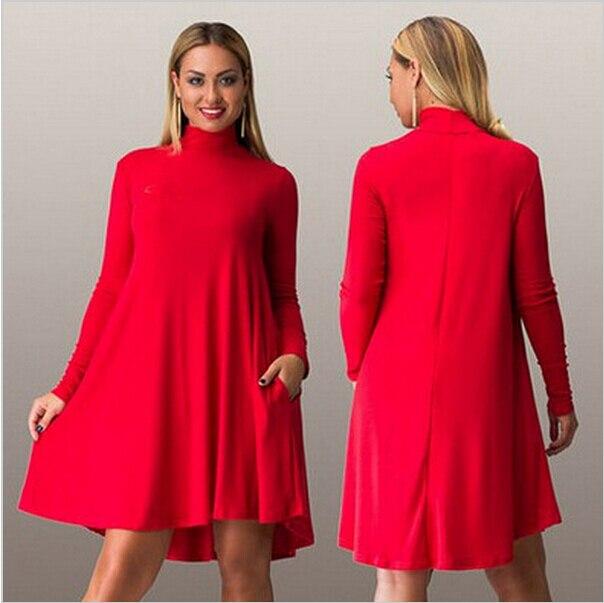 3c2177aea12 Women plus size casual autumn dress large size women loose dress Long  Sleeve big size dresses turtleneck solid knee length Dress-in Dresses from  Women s ...