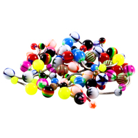 100Pcs Lot Mixed Color Belly Button Rings Body Piercing Jewelry For Cute Womens Surgical Steel Pircing