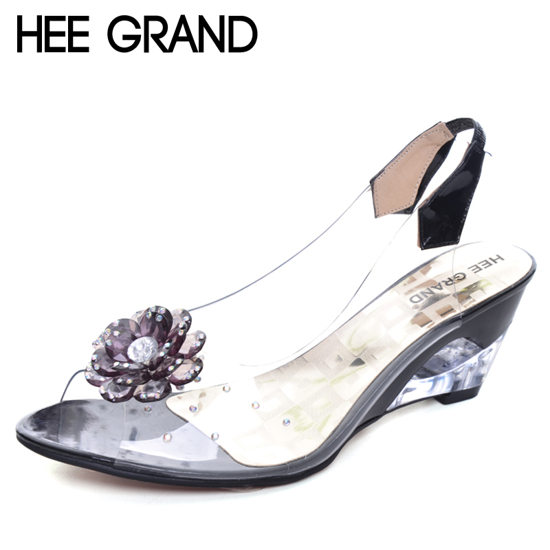 HEE GRAND 2017 Summer Sandals Women Peep Toe Wedges Shoes Woman Flowers Sweet Style Jelly Shoes For Lady Size Plus 35-43 XWZ831 hee grand women s wedges heel highs for 2017 summer cut outs love heart bottom pumps wedding shoes woman size 35 39 xwd401
