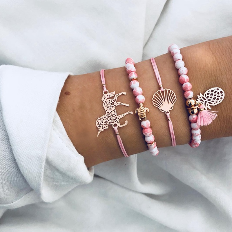Frank New Bohemian Accessories Pink Handmade Weave Rope Beaded Beads Pineapple Unicorn 4 Pieces Set Bracelets For Women Jewelry Bangle Relieving Rheumatism