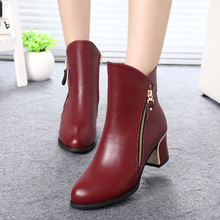 Hot Sexy Autumn Winter Boots Women Thick High Heel Ankle Boots Zipper Short Martin Boots Women's Shoes Famous Brands FJK01