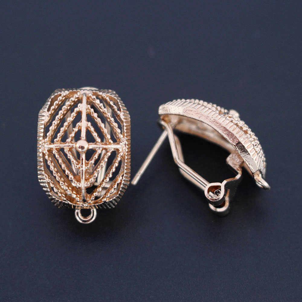 Earrings Post Connector Linker Filigree Rectangle Metal Base for Big Geometric Women Hanging Dangle Earrings Drop Earring Making