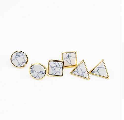 QCOOLJLY New Arrival Fashion Square Triangle Round Geometric Marbled White Natural Stone Natural Stone Stud Earrings For Women