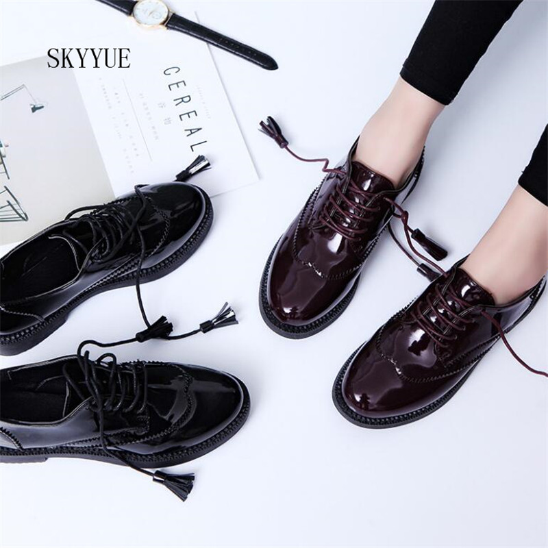 Women Flats new British Style Oxford Shoes Women Spring Soft Leather Casual Shoes Retro Tassel Lace Up Women flat Shoes beffery spring patent leather oxford shoes women flats pointed toe casual shoes lace up soft leather womens shoes retro brogues