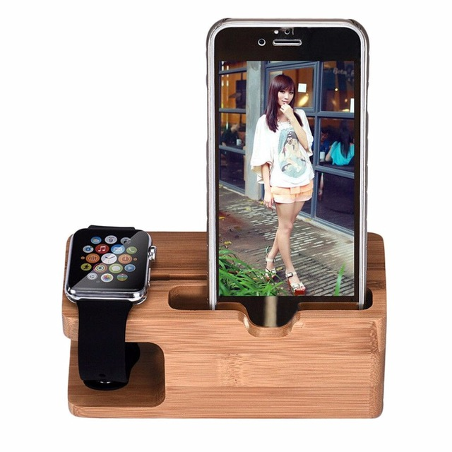 ONLENY Bamboo Wood Charging Station Charger Dock Stand Holder For Apple Watch Phone