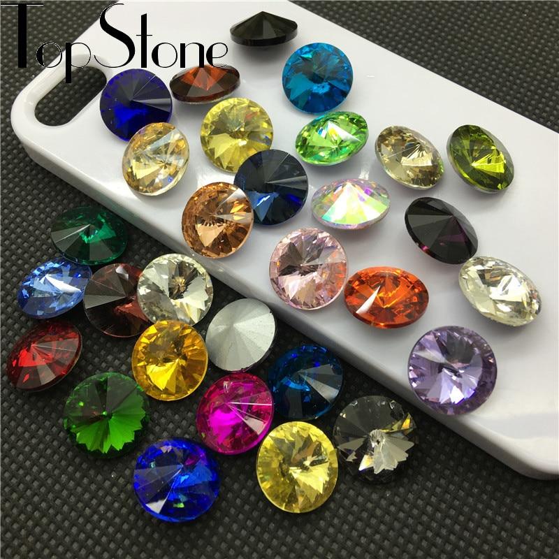 TopStone 35 цветов 6 ~ 18 мм Rivoli Crystal необычный камень заостренный задний стеклянный круглый стразы для фотографий