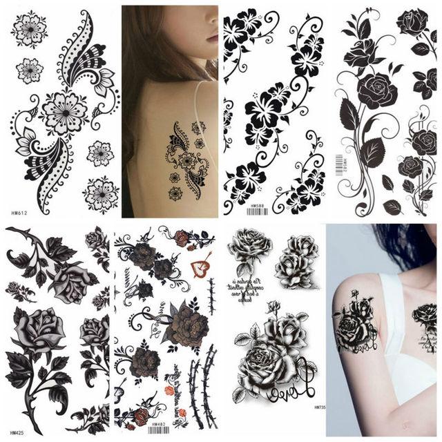 King Horse Black Rose Henna Flowers 17x10cm Arm Tattoo Sleeve Flash