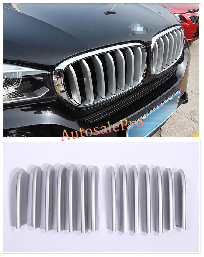 Decoration Chrome Front Center Grill Grid Grille Cover Trim 14pcs For BMW X6 F16 2015 2016  цены онлайн