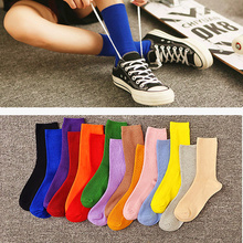IOLPR funny socks women cotton casual solid 15 colors for rainbow cute harajuku red sox art Spring new product snapped up