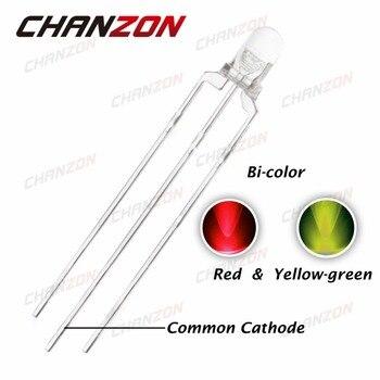 CHANZON 100 шт., 3 мм LED красный, желтый, зеленый, общий катодный 3 мм прозрачный круглый двухцветный светоизлучающий диодный свет, DIY компоненты
