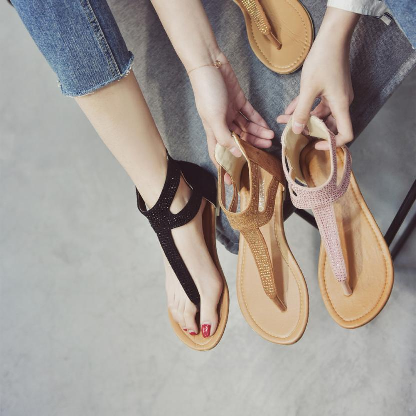 78bdab9d3 Aliexpress.com   Buy SAGACE Shoes Sandals Diamond Zipper Gladiator Low Flat  Flip Flops Beach Sandals Bohemia Shoes Casual sandals summer 2018MA16 from  ...