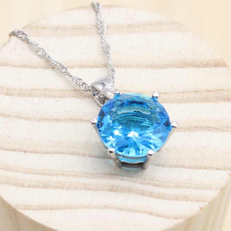 925 Sterling Silver Jewelry Round Rainbow Light Blue Stones Necklace Pendant Chains  Jewelry For Women