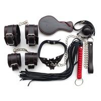 10 In 1 Sex PU Eye Blindfold Masks Bite Gag Whip Rope Collar Leg Cuffs Connection