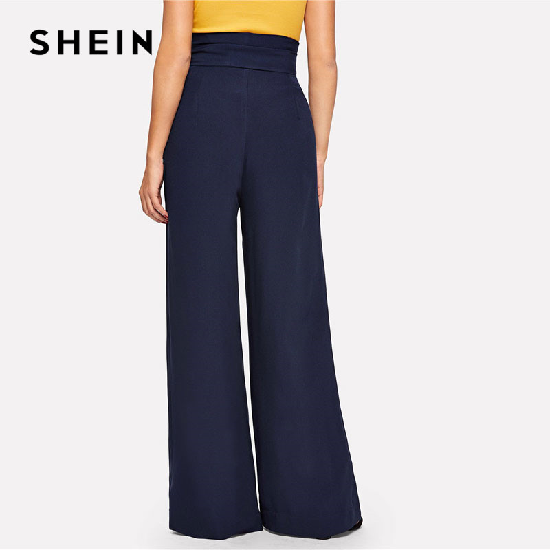 SHEIN Navy Paperbag Waist Pocket Wide Leg Pants Casual Elastic High Waist Belted Trousers Women Long Pants For Spring 2