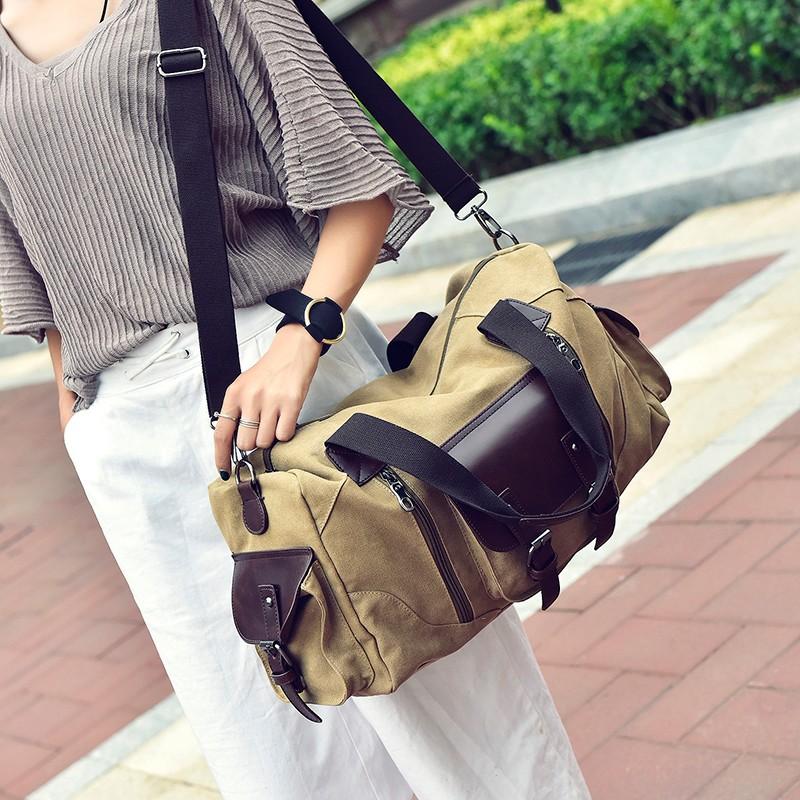 Famous Brand Men Vintage Canvas Men Travel Bags Women Weekend Carry On Luggage & Bags Leisure Duffle Bag Large Capacity Handbags (14)