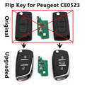 Upgraded Car Remote Flip Key 433MHz ID46 chip for PEUGEOT 107 207 208 307 308 SW 407 Keyless Entry Controller CE0523 Model