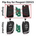 Voltear Clave Remoto 433 MHz ID46 chip de Coche mejorado para PEUGEOT 107 207 208 307 308 SW 407 Controlador de Entrada Sin Llave Modelo CE0523