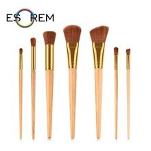 ESOREM 7pcs Tapered Wood Handle Makeup Brushes Professional Brush Synthetic Buffing Stippling Pinceaux Maquillage