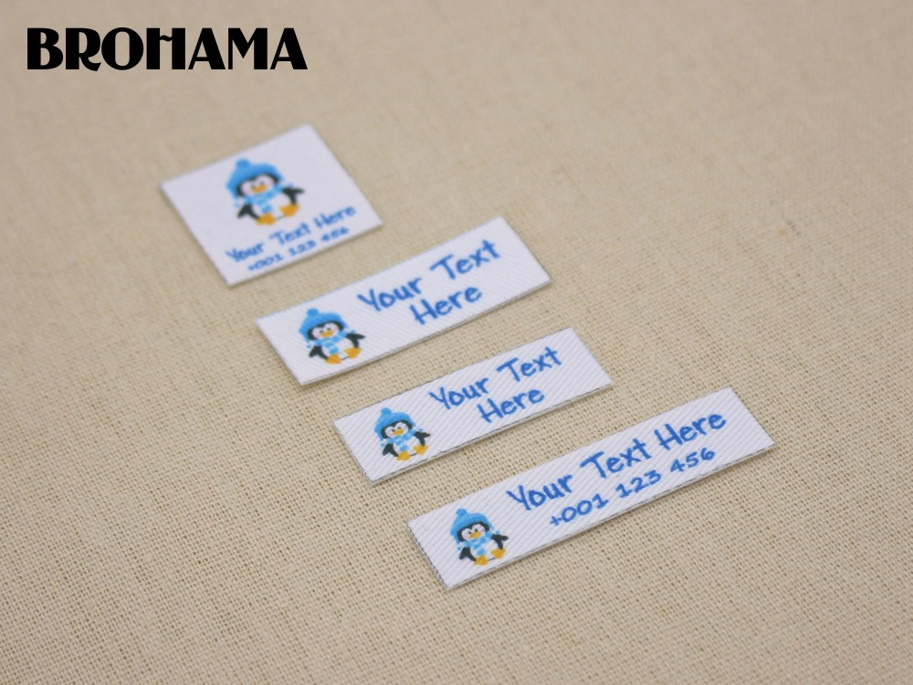 Custom name label, childrens clothing label, ironing label, boy and girl tag, Blue penguin label (L36)