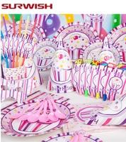 SURWISH Una Serie Di Compleanno Decorazione Del Partito di Alimentazione Ragazzi Ragazze bambino Favori Set di Stoviglie Usa E Getta Rifornimenti Festa Di Compleanno Decor