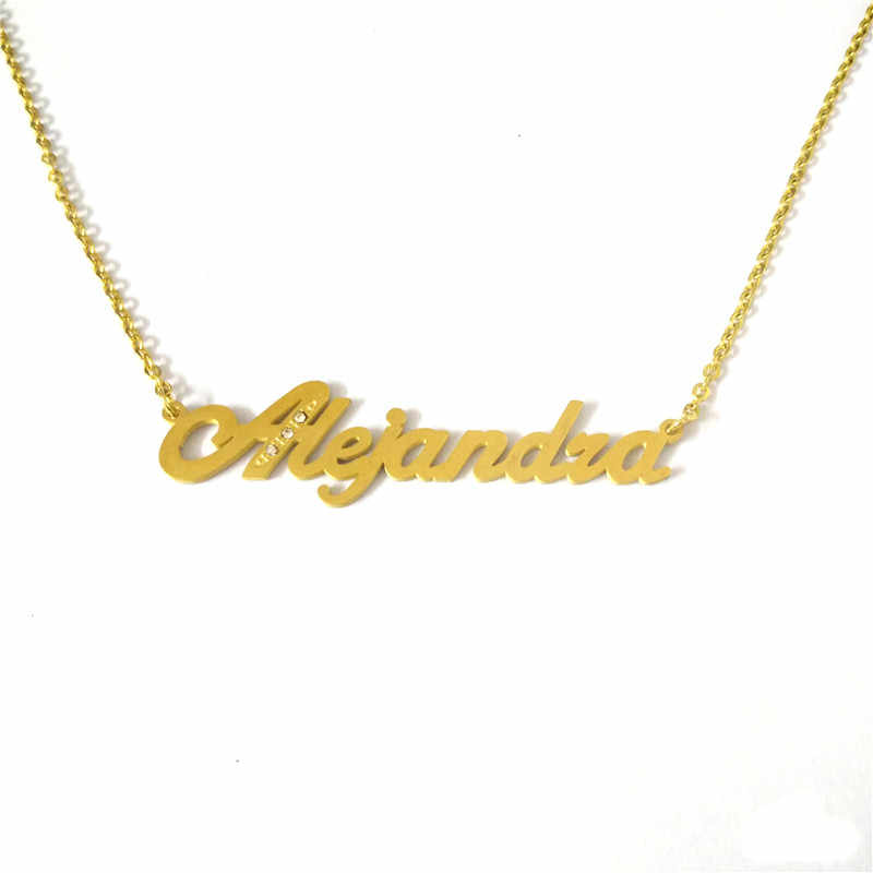 FairLadyHood Personalized Font Alejandra Pendant Necklaces Stainless Steel Gold Chain Custom Name Necklace Women Bridesmaid Gift