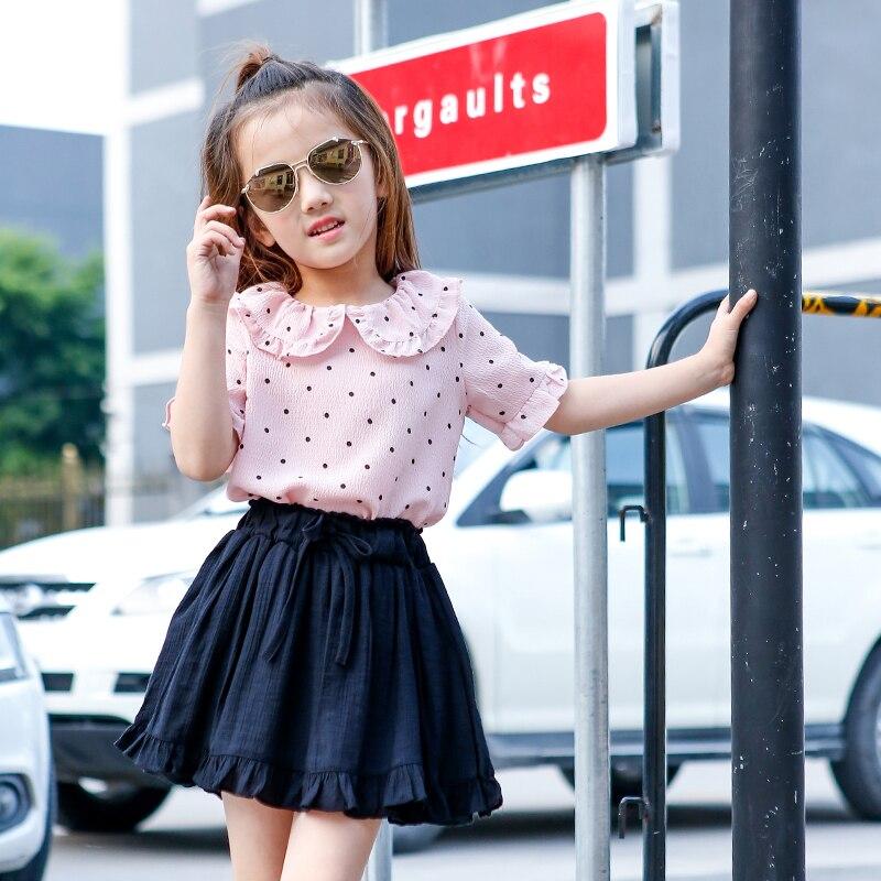 2017 Summer Girls Clothes Set Toddler Baby Girls Clothing 4 5 6 7 8 9 10 11 12 13t School Uniform Chiffon Dot Shirt + Skirt Pant