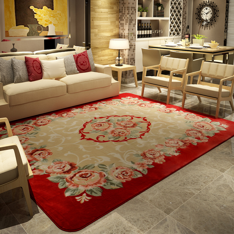 Honlaker luxury roses large living room carpets pastoral - Huge living room rugs ...