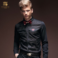 Free Shipping New Fashion Casual Man Male Men S Personality Spring Autumn Black Lace Shirt Slim