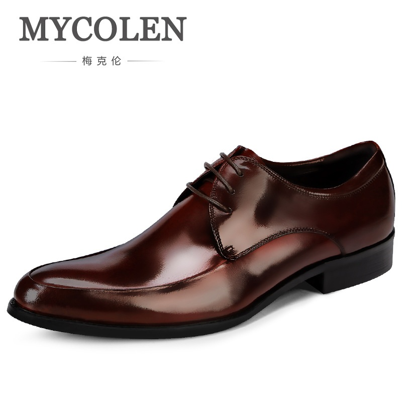MYCOLEN New Genuine Leather Autumn And Winter Classic Men's Dress Shoes Oxfords Brogue Wedding Party Business Shoes Pointed Toe mycolen new arrival british style round toe mens leather shoes fashion wedding party business brogue shoes chaussure homme