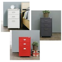 iKayaa Metal Drawer Filing Cabinet Detachable Mobile Steel File Cabinets w/ 3 Drawers 4 Casters Living Room Cabinets