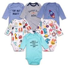 6pcs/lot Newborn Baby Bodysuit Long Sleeve cotton Cartoon Boy Clothes Toddler Playsuit Jumpsuit Infant Outfit Clothing
