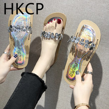 HKCP Slippers female summer wear 2019 new Korean version of water drill flat shoes transparent crystal antiskid slippers C166