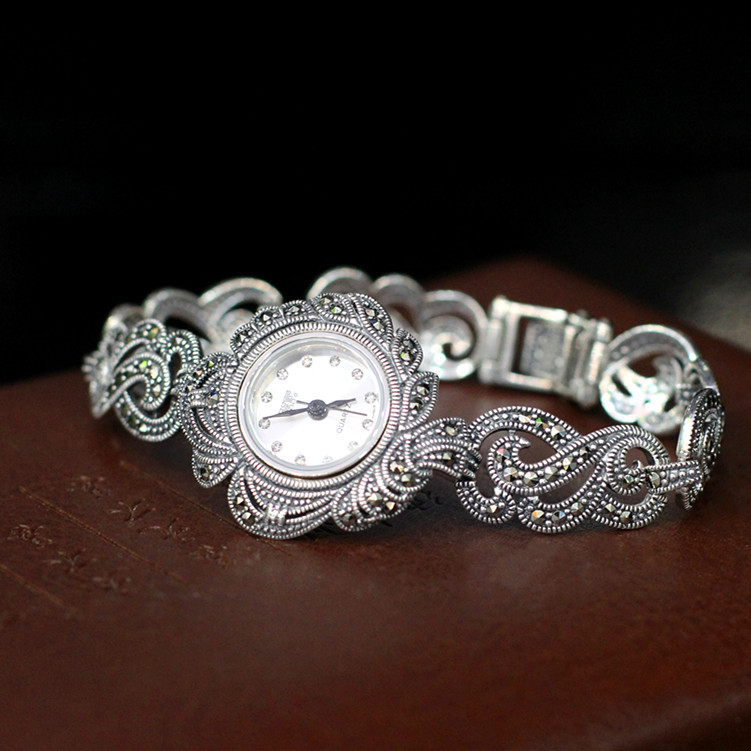 S925 pure silver refined Thai women's aesthetic temperament type bracelet watches