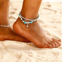 fd913b266 Boho tobillera Shell Starfish tortuga tobilleras para las mujeres pie joyas  sandalias descalzo playa tobillo pulsera regalo chic.