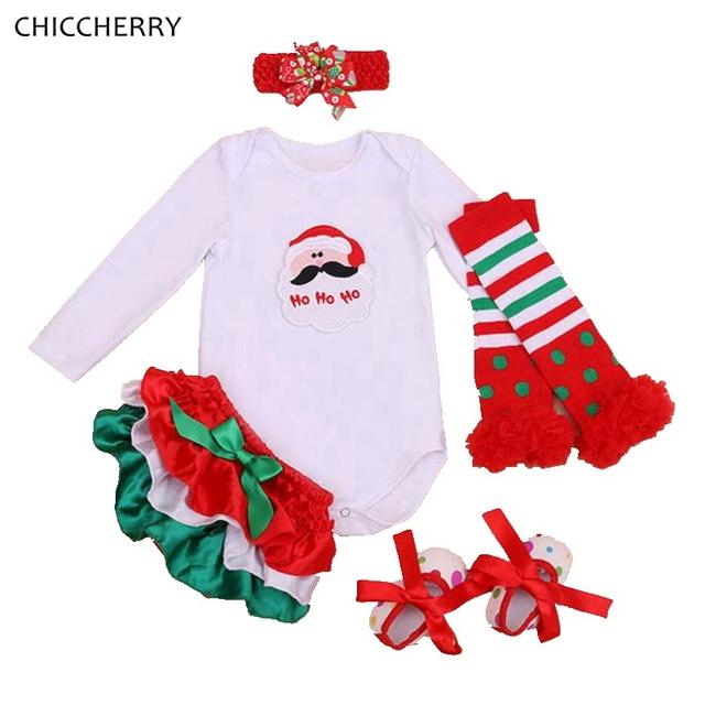 Santa Claus Traje de la Navidad Ropa del Mono Del Bebé de La Venda Bloomers Calentadores de La Pierna de Zapatos Recién Nacido Ropa Roupa de Bebe