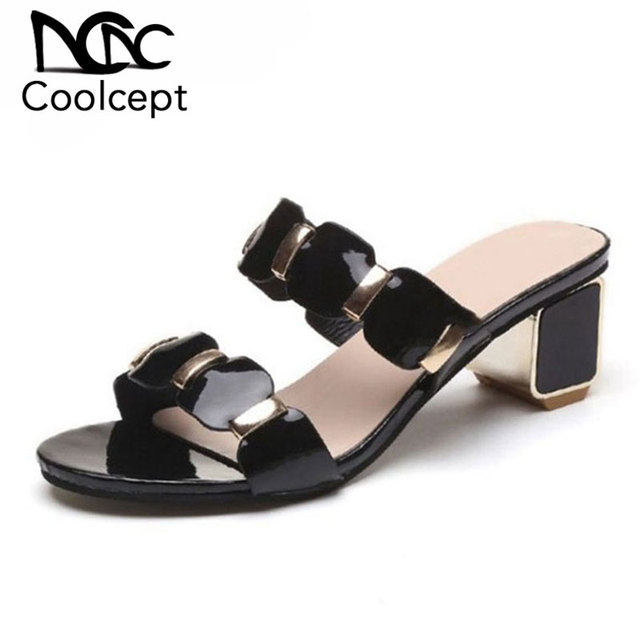 952389d68e5 Coolcept Fashion Wome High Heel Sandals Open Toe Patchwork Thick Heel  Slippers Summer Vacation Shoes Women Sandals Size 35-41