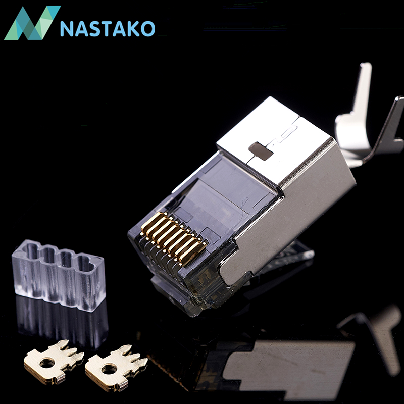 NASTAKO 10/50pcs Cat7 RJ45 Connector Cat7 Crystal Plugs Shielded FTP RJ45 Modular Connectors Cat 7 Network Ethernet Cable 1.5MM