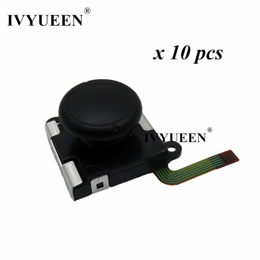 IVYUEEN 10 Pcs 3D Analog Thumb Sticks For Nintend Switch NS Joy Con Sensor Module Potentiometer Replacement Joystick Grips Cap