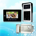 7'' wired color video door phone intercom doorbell system kit set with monitor+RFID IR camera with keys+ lock for home security